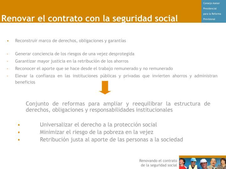 Renovar el contrato con la seguridad social