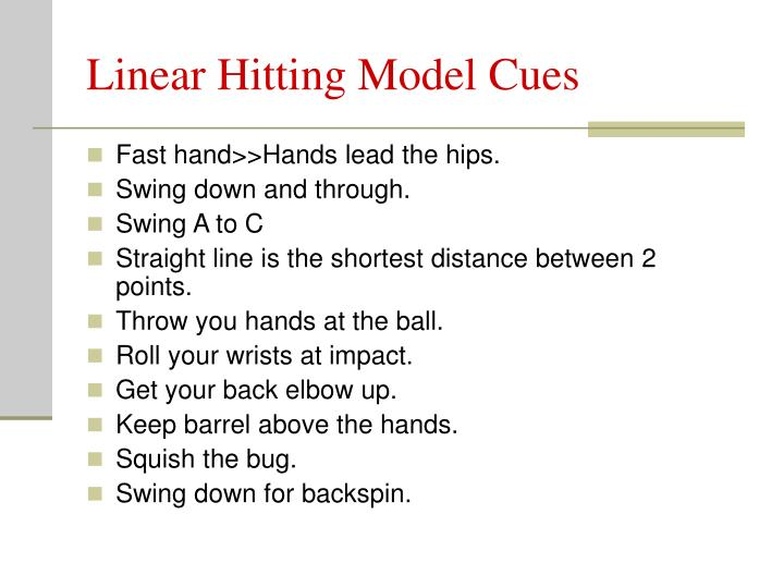 Linear Hitting Model Cues
