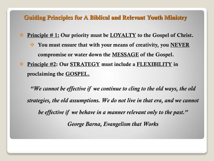 Guiding Principles for A Biblical and Relevant Youth Ministry