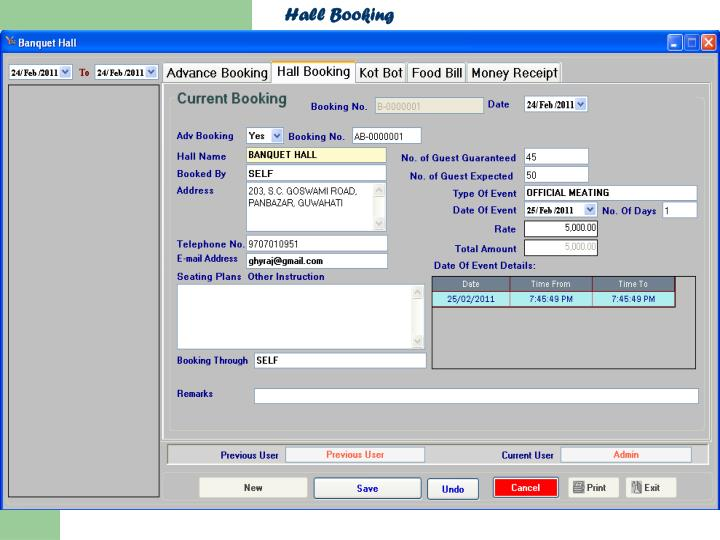 Hall Booking