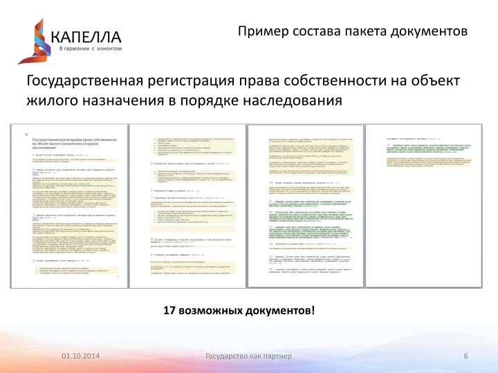 Пример состава пакета документов