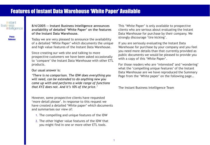 features of instant data warehouse white paper available