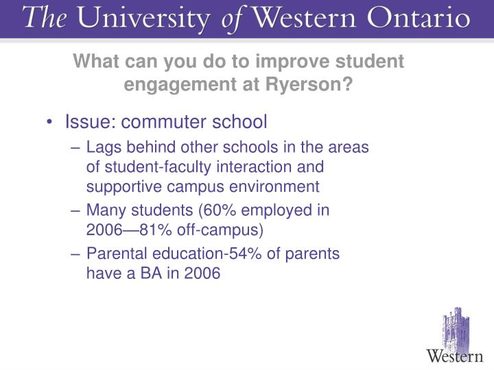 What can you do to improve student engagement at Ryerson?