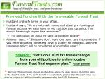 pre need funding with the irrevocable funeral trust