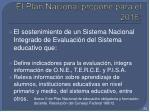 el plan nacional propone para el 2016