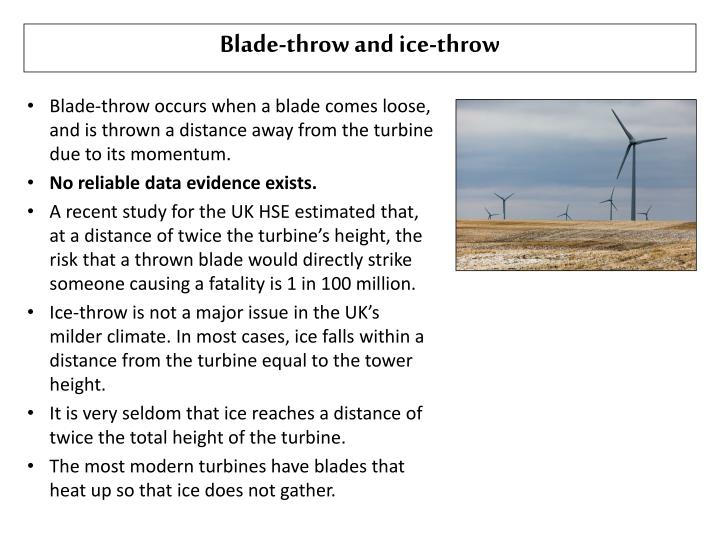 Blade-throw and ice-throw
