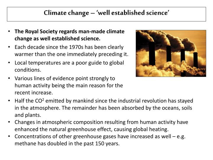 Climate change – 'well established science'