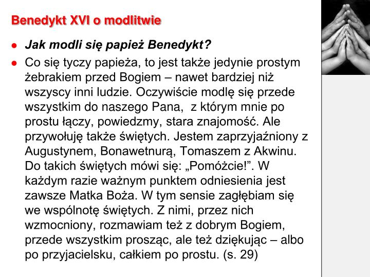 Benedykt XVI o modlitwie