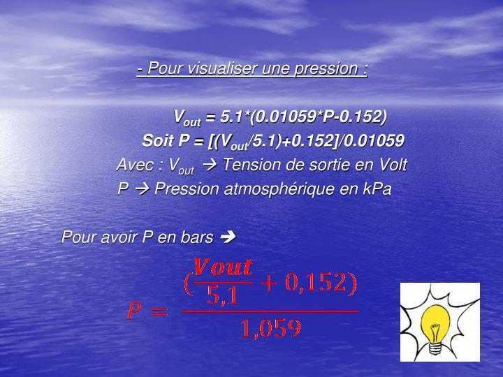 - Pour visualiser une pression: