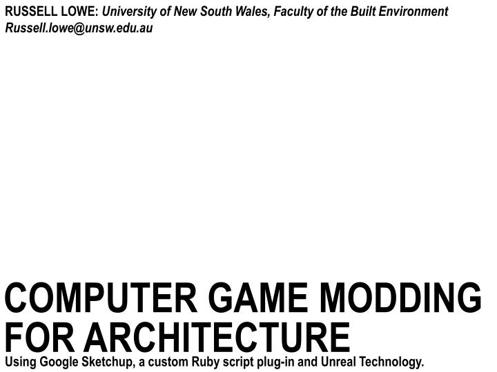 PPT - computer game modding for architecture PowerPoint