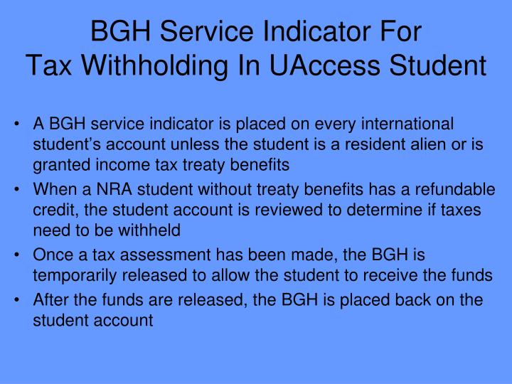 BGH Service Indicator For