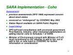 sara implementation coho