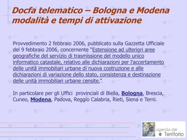 Docfa telematico – Bologna e Modena