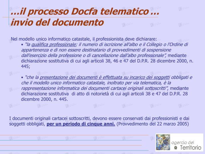 …il processo Docfa telematico
