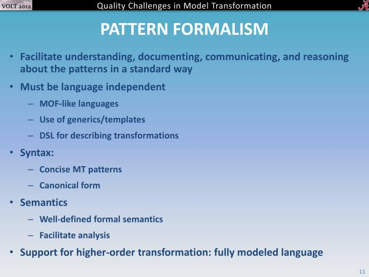 Pattern formalism