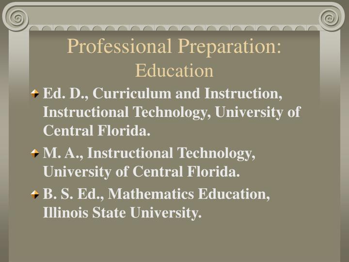 Professional preparation education