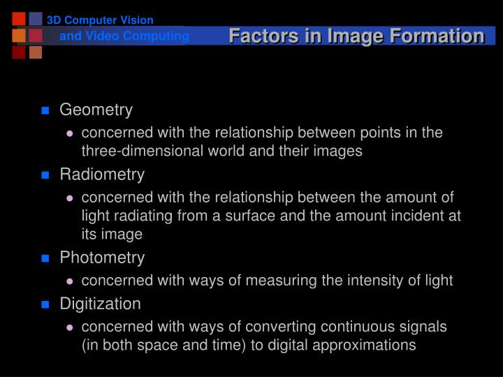 Factors in Image Formation