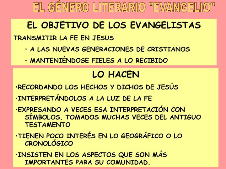 """EL GÉNERO LITERARIO """"EVANGELIO"""""""