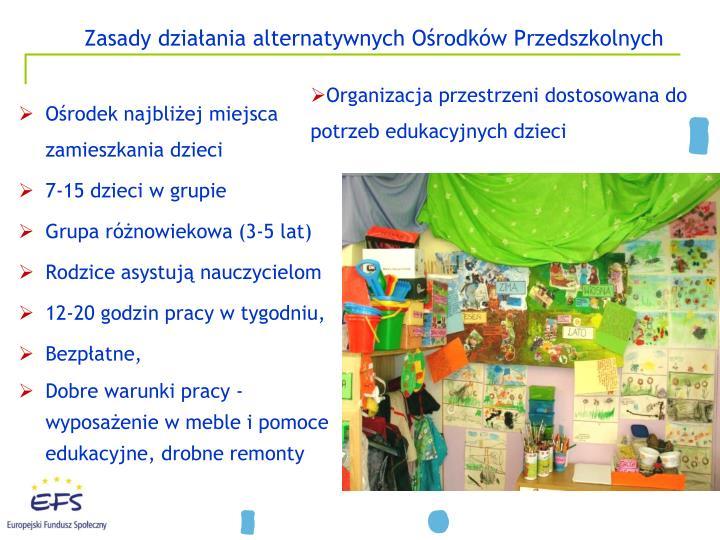 Zasady działania alternatywnych Ośrodków Przedszkolnych