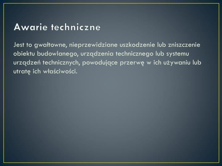 Awarie techniczne