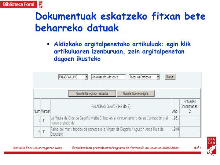 Dokumentuak eskatzeko fitxan bete beharreko datuak