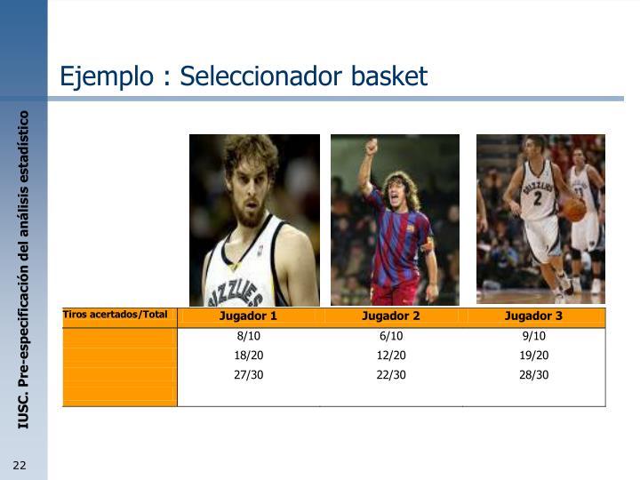 Ejemplo : Seleccionador basket