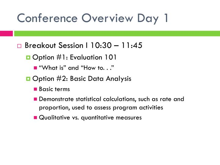 Conference Overview Day 1