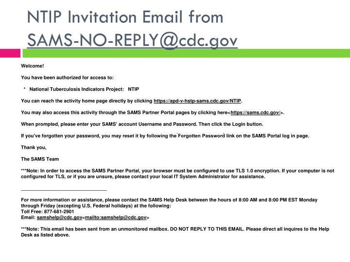 NTIP Invitation Email from