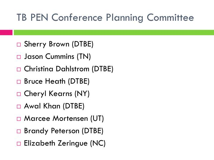 TB PEN Conference Planning Committee