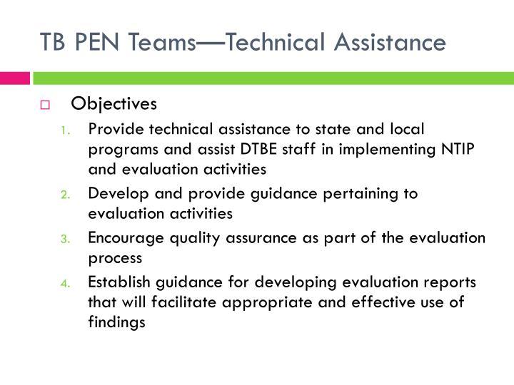 TB PEN Teams—Technical Assistance