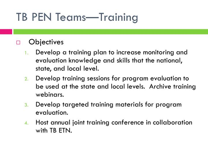 TB PEN Teams—Training