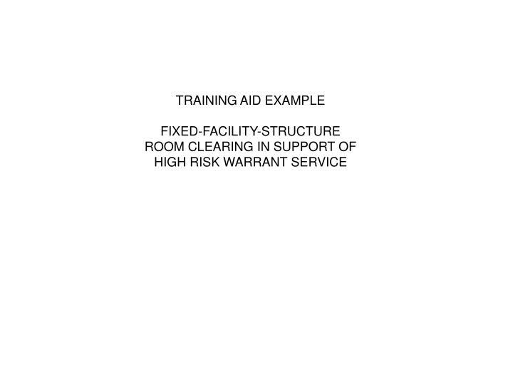 TRAINING AID EXAMPLE