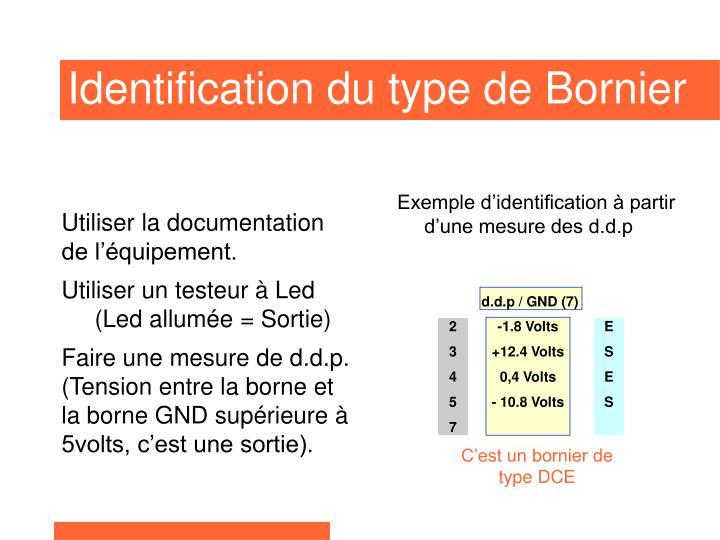Exemple d'identification à partir d'une mesure des d.d.p