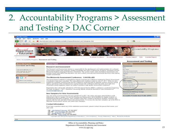 2.  Accountability Programs > Assessment and Testing > DAC Corner