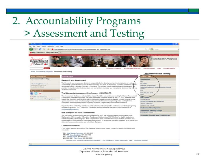 2.  Accountability Programs