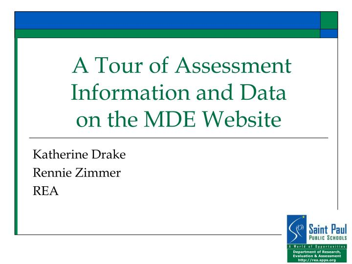A tour of assessment information and data on the mde website