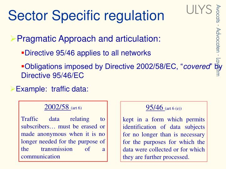 Sector Specific regulation