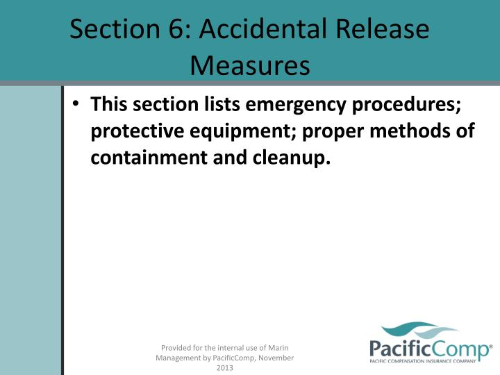 Section 6: Accidental Release Measures