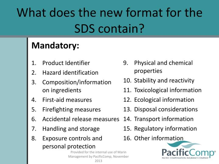 What does the new format for the SDS contain?