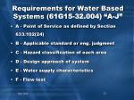 requirements for water based systems 61g15 32 004 a j