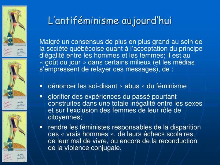 L'antiféminisme aujourd'hui
