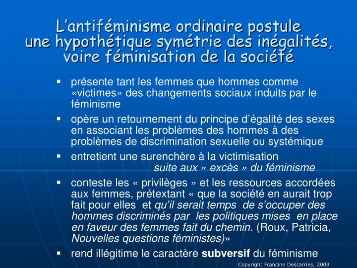 L'antiféminisme ordinaire postule