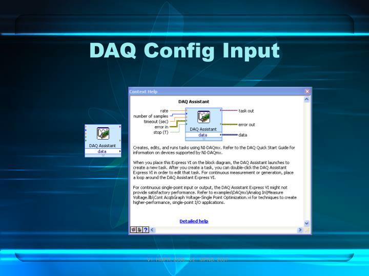 DAQ Config Input