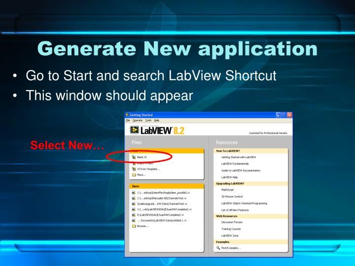 Generate New application