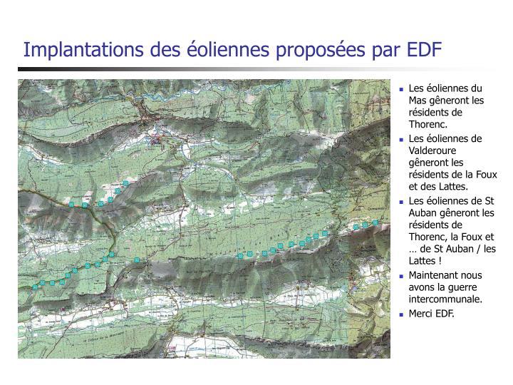 Implantations des éoliennes proposées par EDF