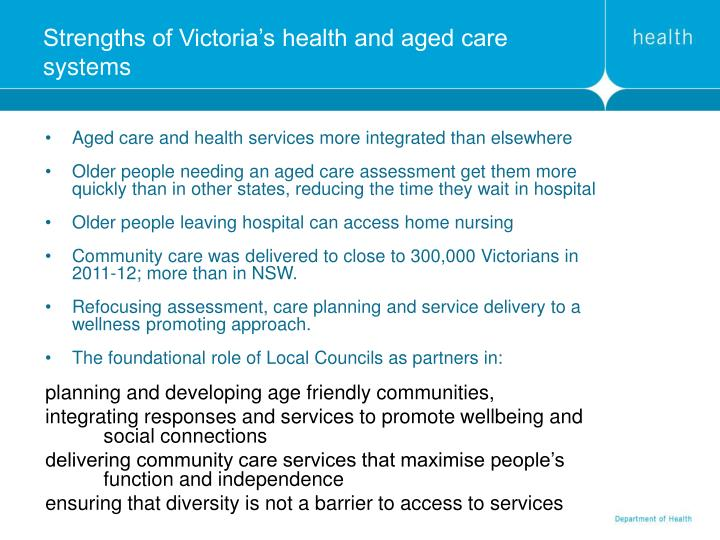 Strengths of Victoria's health and aged care systems