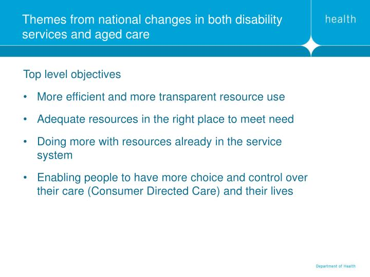 Themes from national changes in both disability services and aged care