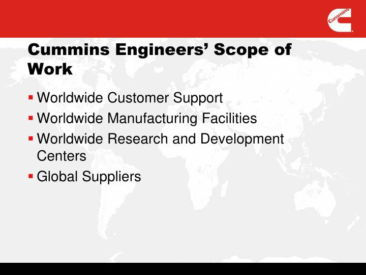 Cummins Engineers' Scope of Work