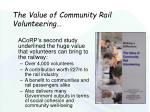 the value of community rail volunteering