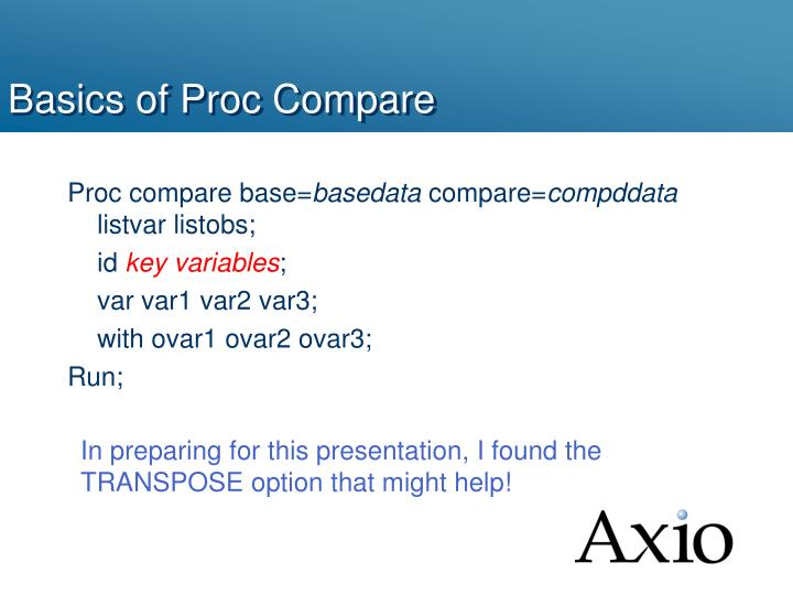 Basics of Proc Compare